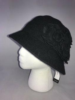 Nine West Women's Black Floral Bucket Hat Cap Fashion One Si