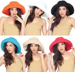 Women's Cotton Beach Bucket Hat, Wide Brim, Outdoor Fishing