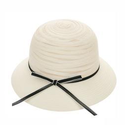 Women's Cute Bucket Hat Straw Beach Sun w/Bow Faux Distresse
