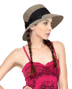 Women's Pretty Vintage Roll Up Beach Sun Visor Straw Hat w/B