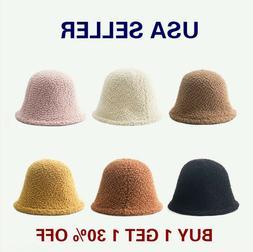 Women's Winter Soft Fleece Solid Color Bucket Hat Cap Beanie