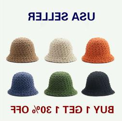Women's Winter Solid Color Soft Wool Hand Knit Bucket Hat Ca