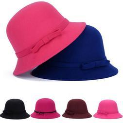 Women Winter Cloche Bucket Wool Bow Bucket Hat Lady Elegant