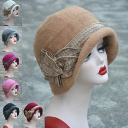 Womens 1920s Gatsby Style Flapper Downtown Abbey Wool Cloche