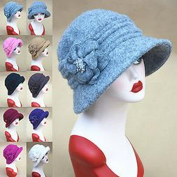 Womens 1920s Vintage Gatsby Style Wool Cloche Bucket Cap Win