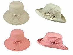 DALIX Womens Daytime Large Sun Cap Bucket Cotton Soft Hat Ga
